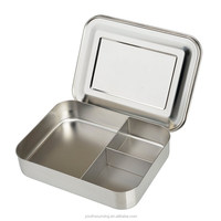 Easy carry stainless steel picnic container three compartment