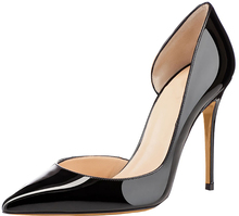 Black Patent Leather Ladies High Heel Stiletto Shoes Pointed Toe High Quality Leather Bridal Evening Party Dress Shoes