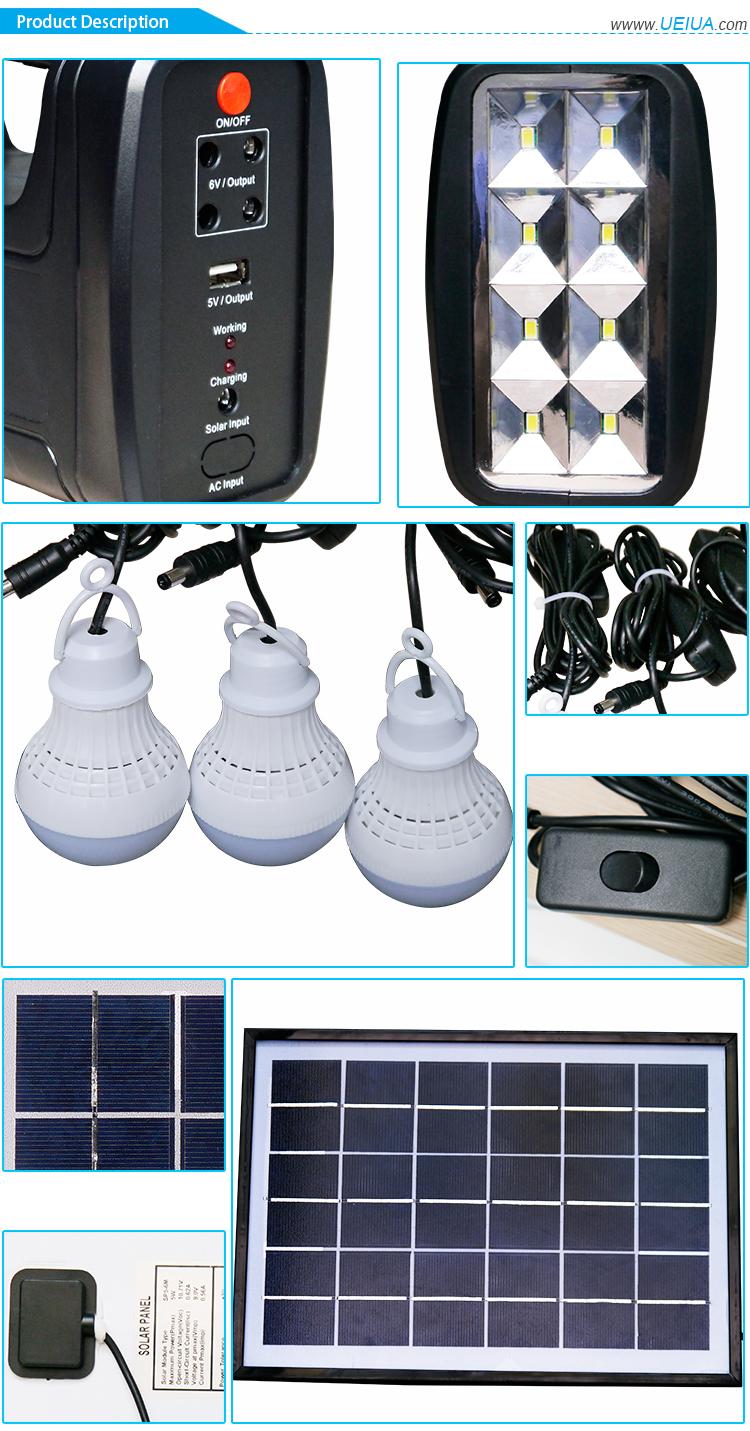 Home Solar Panel Kit 5w /9v Solar Panel Portable Solar Lighting Kit ...