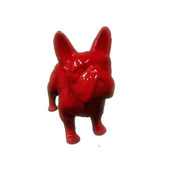 Glossy red standing french bulldog figurine garden statue