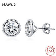 925 Sterling Silver jewelry Round Bezel CZ Solitaire Stud Earrings 4mm E502