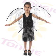 China wholesale high quality Kids halloween costume girls sexy black witch costume with wing