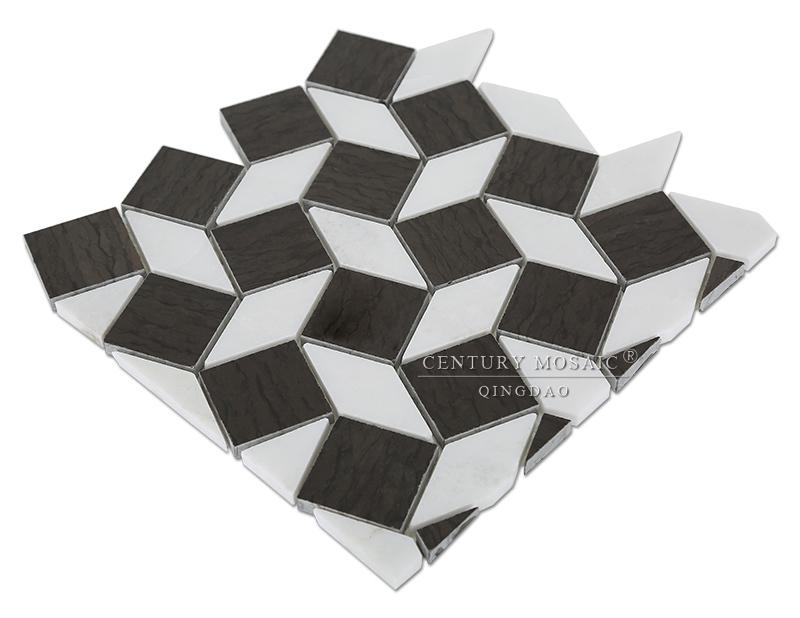 Floor Tle Black And White Marble Mosaic Diamond Shaped Tile Buy