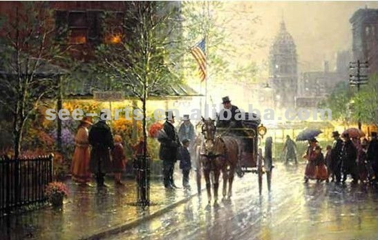 Top beautiful Paris street scene oil paintings