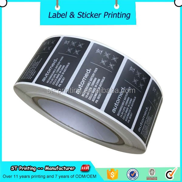 Black vinyl matte silver PET custom design stickers printing for electronic product label roll