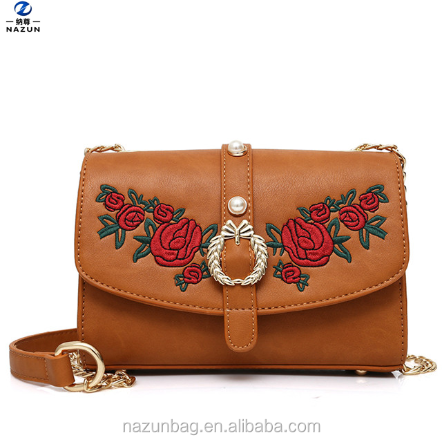 Embroidery trend fashion autumn maple browm litchi grain one shoulder bags ladies messenger bag
