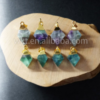 WT-P650 Wholesale amazing Natural rainbow fluorite pendant , lovely tiny natural color fluorite point pendant