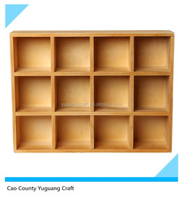 Wooden Freestanding / Wall Mounted 12 Compartment Shadow Box / Display Shelf Shelving Unit