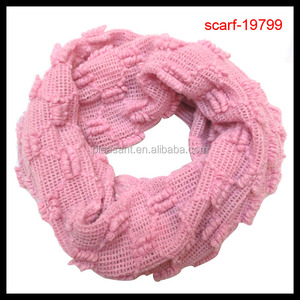 funky winter thick knitted infinity loop pink scarf