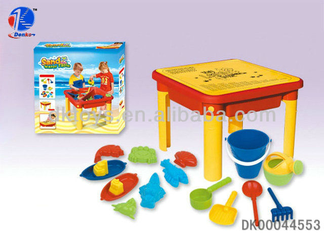 Brand New! Yellow Sand and Water Table With Beach Toy Set For Kids Dual Use Fun