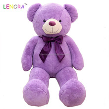 Main product trendy style big size soft plush purple teddy bear with bow custom design