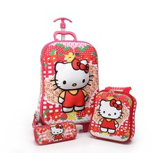 3PCS/set kids Luggage Travel 3D stereo Pull rod box rolling suitcase cartoon child pencil box children gift anime trolley case
