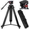 factory cheap 1.8m aluminum pan tilt head camera stand light tripod with 1/4 & 3/8 screws