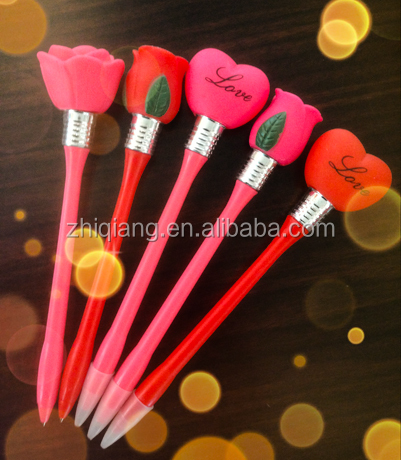 Cheap wholesale high quality artificial heart and rose shaped pen