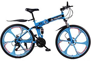 Hot Sales Altruism Xirui X9 Aluminum Mountain Bike 24 Speed 26 Inch Folding Bicycle Blue