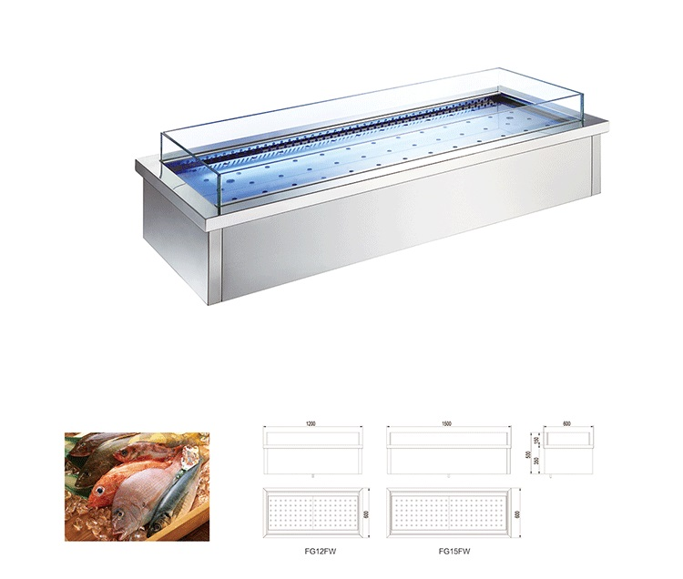 Commercial buffet seafood display refrigerator freezer showcase
