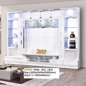 China Beno furniture competitive price TV cabinet 1M 2m long big white color glass wall units designs in living room pictures