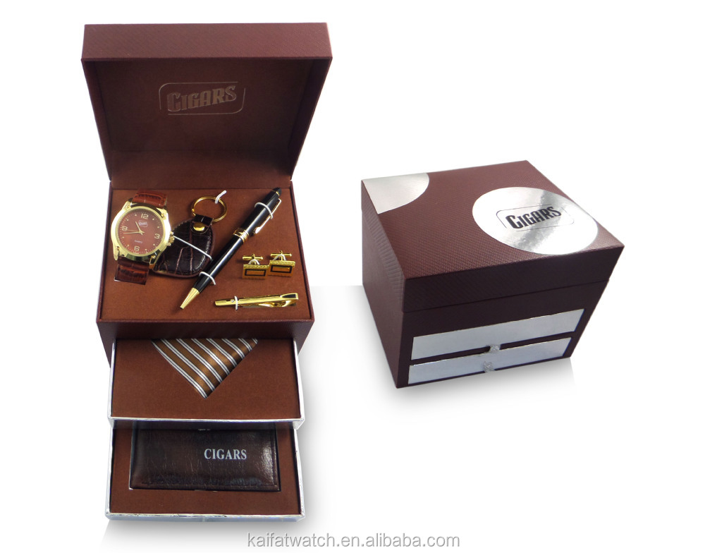 Popular elegant gift set with men watch, keychain, necktie and pen ...