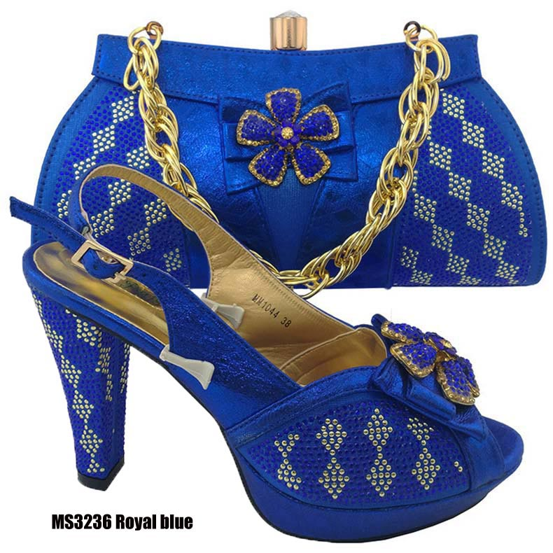 Royal Blue Fashion African Low Heel Crystal Wedding Shoes And Bag Set For  Nigeria Party