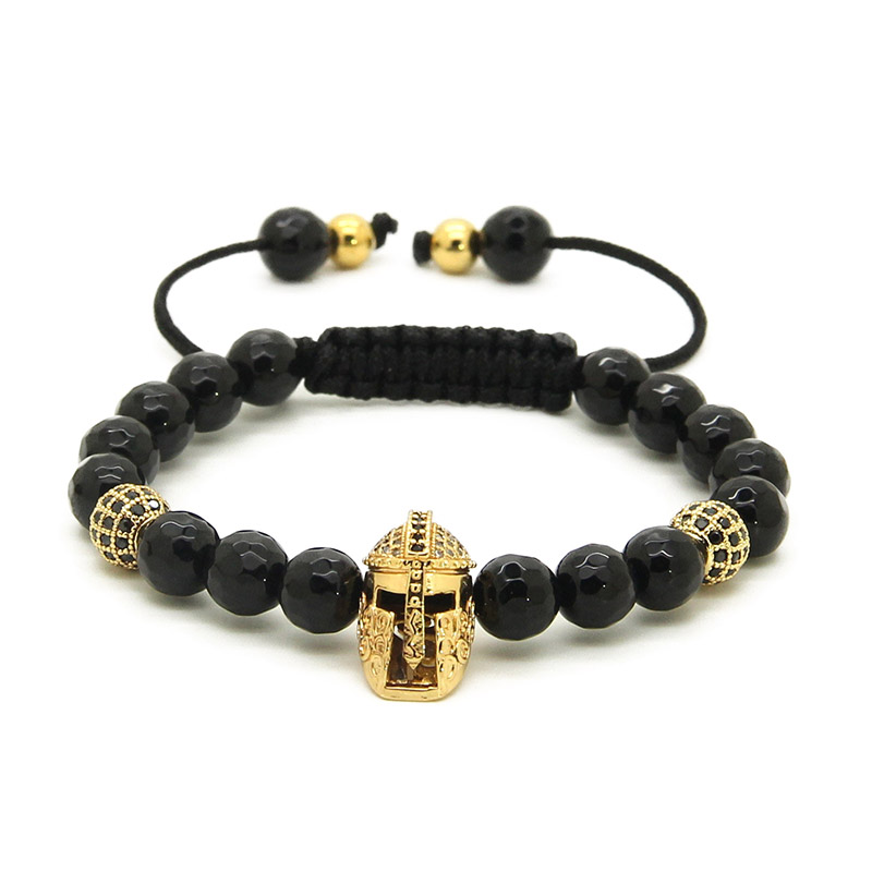 Natural Faceted Black Agate Beads with Micro Paved Black Zirconia Helmet Spartan Braided Men Cz Bracelets
