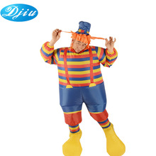 Adults party decoration stripe dress and yellow big feet girl inflatable clown costumes