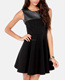 Ladies leather shell black skater dress