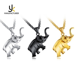 Thailand Holy Jewelry Amazon Hot Styles Lucky Stainless Steel Elephant Necklace High Polished