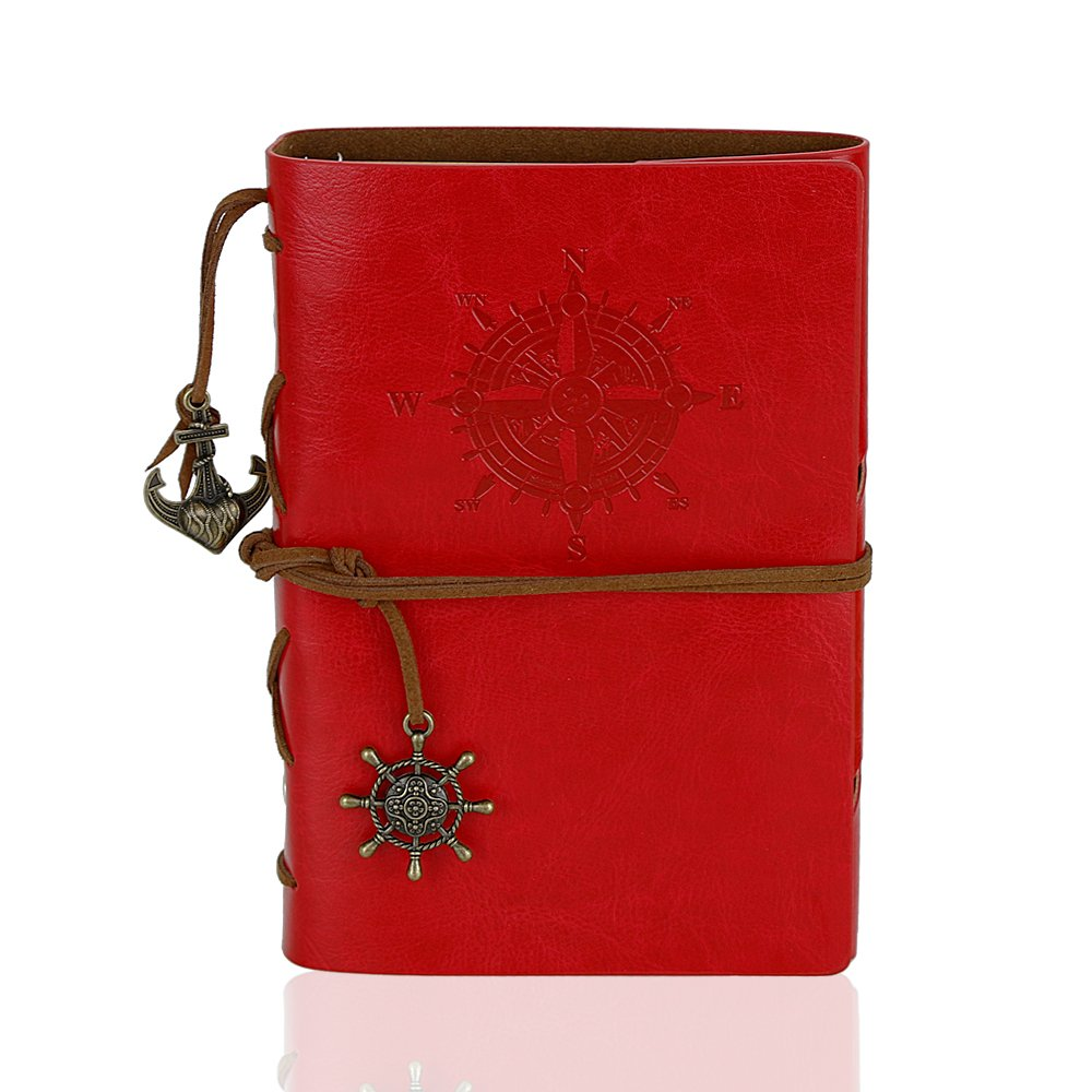"""WeiBonD Refillable Vintage Leather 5"""" x 7"""" Writing Journal - Spiral Design Travel Journal notepad with Unlined Paper as Diary, Sketchbook, Travel journal (Red)"""
