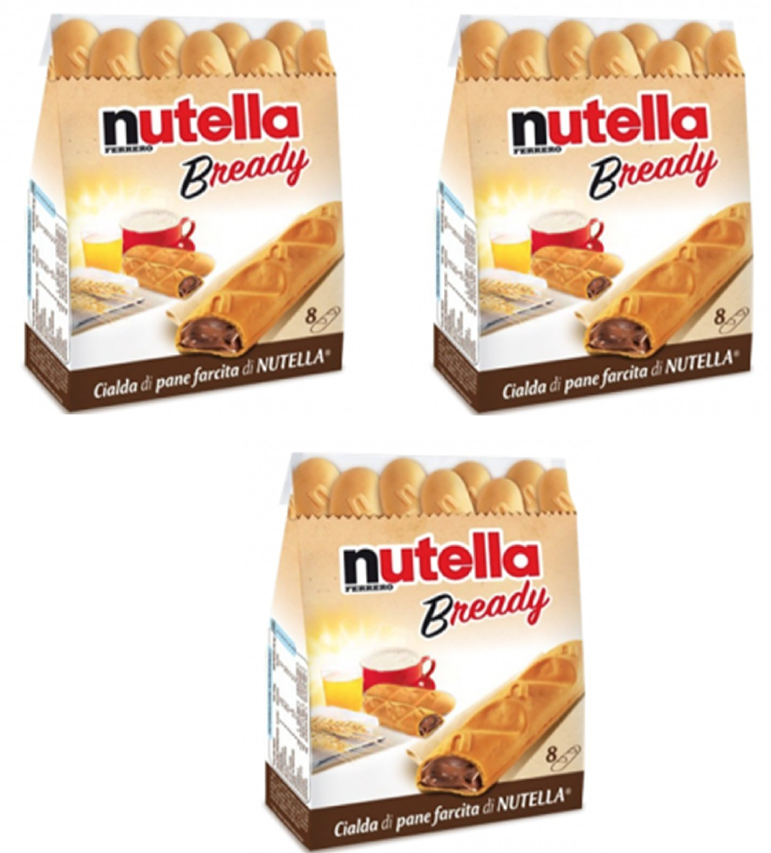 """Ferrero: """"Nutella B-ready """" a crisp wafer of bread in the form of mini - baguette stuffed with a creamy Nutella * 8 pieces * 5.39 oz (153g) * Pack of 3 [ Italian Import ]"""