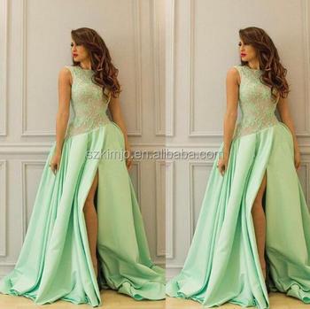 2018 Saudi Arabic Prom Dresses Long Lace Applique Satin A Line ...