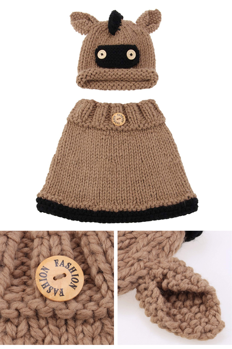 Wholesale Acrylic Kids Knit Poncho Crochet Animal Hat Scarf Warm Chunky Winter Handmade Coif Hooded Crochet Baby Hat Set