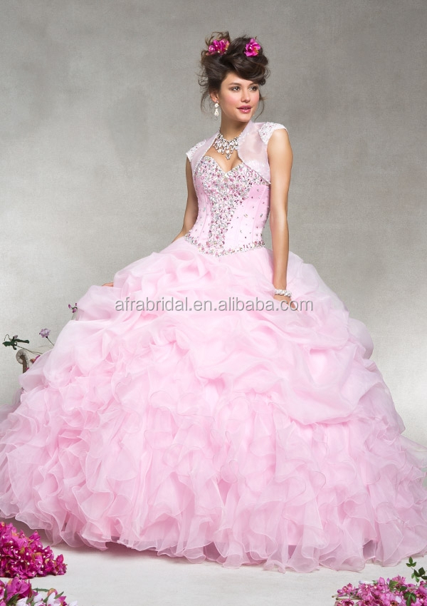 Qq441 Sweetheart Puffy Organza Layered Skirt Pink Wedding Dress ...