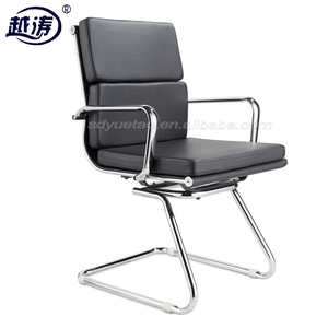 metal frame PU leather sled base office meeting room visitor chair