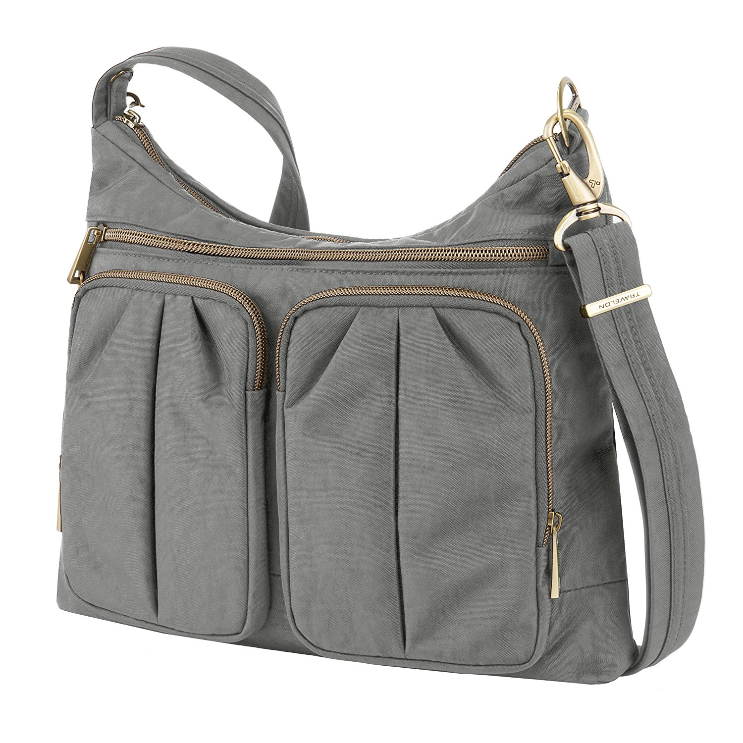 Get Quotations · Travelon Anti-Theft Signature Twin Pocket Hobo Bag ecb309745d464
