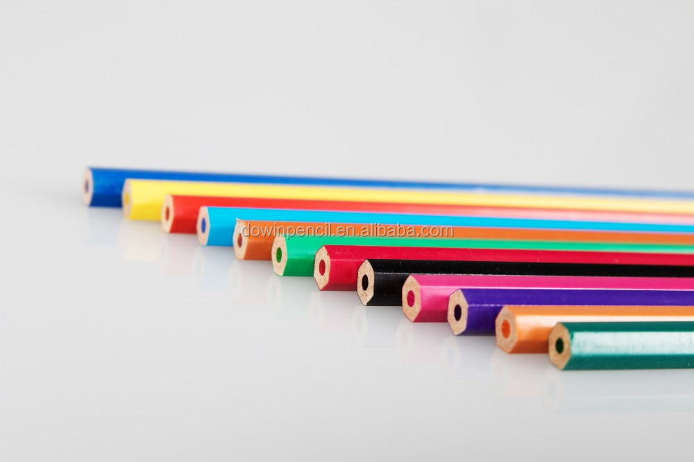 24 colors eco-friendly custom Children color no wooden plastic pencil for gifts