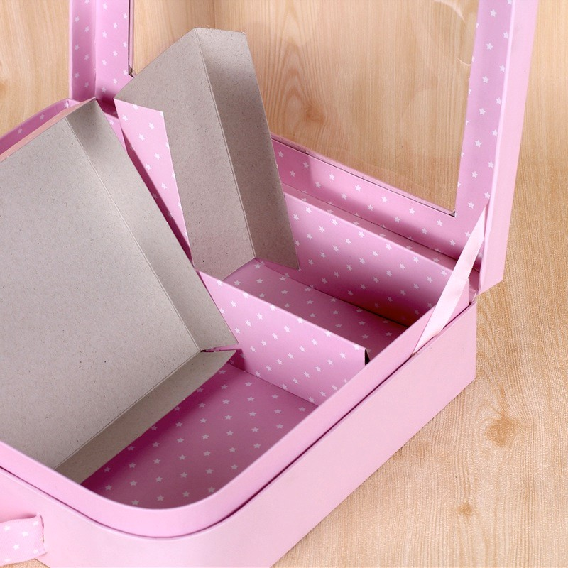 Luxury baby clothes box brand handle packaging with window