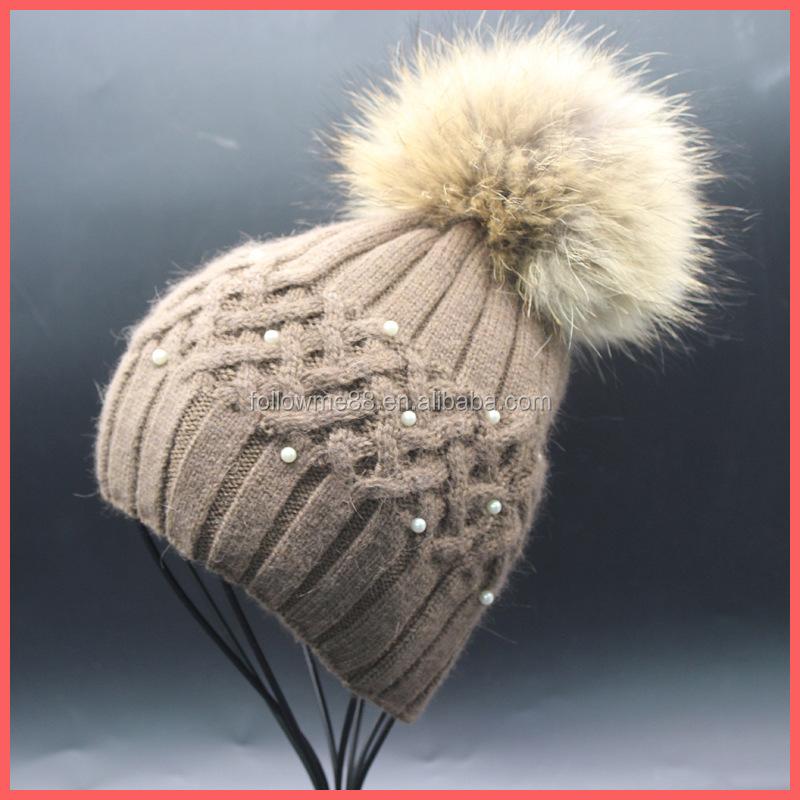 4054b93a604 Women Fur Pompom Hat Ladies Winter Pearl Beanie Hats Rabbit Fur Blend  Knitted Caps Brand Female