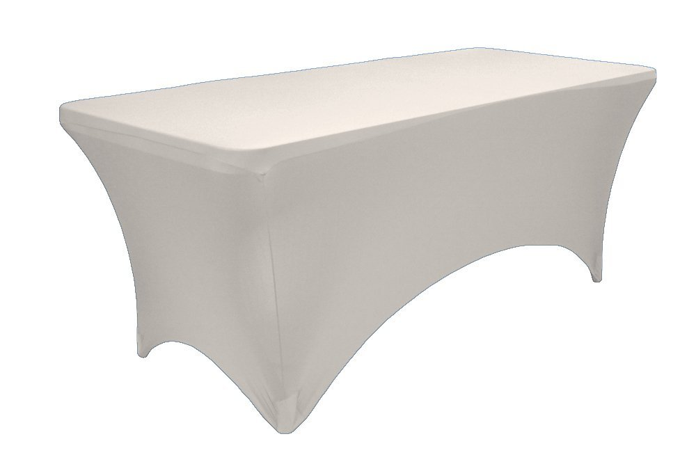 LA Linen™ Spandex Table Cloth for a 4-Feet Rectangular Table, 48 by 30 by 30-Inch, White
