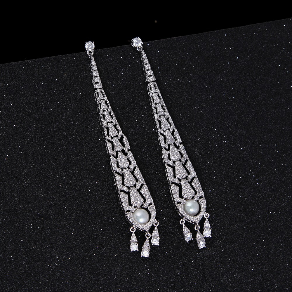 Fancy design rose Gold Plated cubic Zirconia Drop Earrings with pearl jewelry