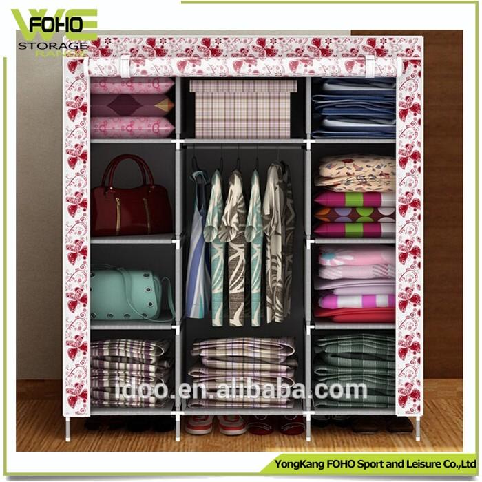 Cn Por Cloth Diy Style Metal Closets Large Increase Folding Fabric Wardrobe For Organization