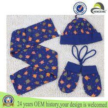 three-piece suit Cotton print cartoon style scarf hat glove sets for kids