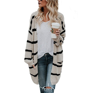 Autumn and winter Women new sweater loose large medium long striped knitted cardigan with wholesale price