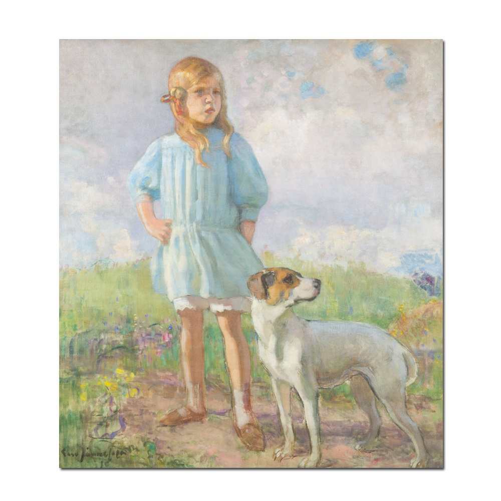 Light-color Realism Eero Jarnefelt Girl with a dog old masters oil painting reproduction