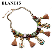 E-ELANDIS //Vintage tassel pendant necklace choker crystal// gold plated zinc alloy pendants ethnic necklaces NL13549