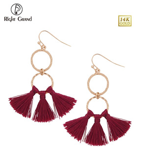 High Quality Gold Jhumka Women Silk Thread Hoop Earring, New Lady Tassel Stud Earring Design Pictures