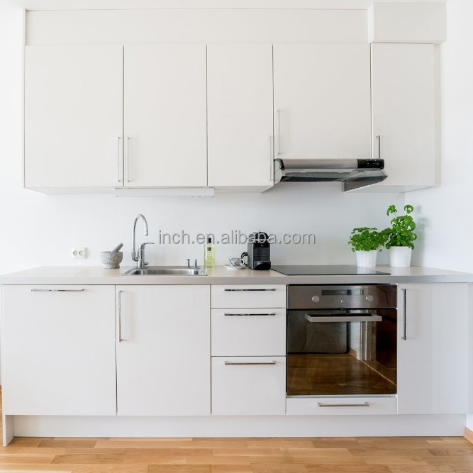 CE certification sample design white kitchen cabinet with stainless steel top