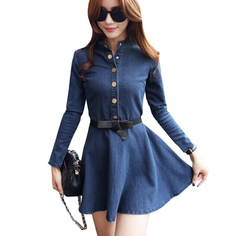 Buy Vestido Jeans Denim Dress 2015 Autumn Winter Blue Jean