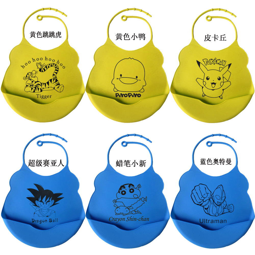 Hot sale NO MOQ FAD cartoon cute waterproof silicone baby bib