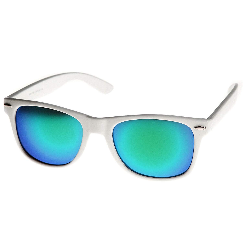 4d0fbbbec7e Get Quotations · MLC Eyewear Retro Horn Rimmed 80s Mirrored Sunglasses  White Frame UV400 Blue Green Lens