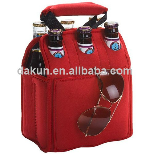 Promotion Reusable Neoprene 6 Pack Cooler Bag 6 Bottle Carrier